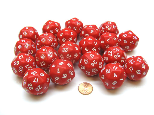 Set of 20 Triantakohedron D30 30 Sided 33mm Jumbo Dice - Red w White Numbers