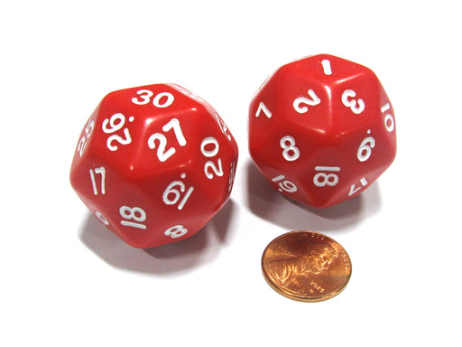 Set of 2 Triantakohedron D30 30 Sided 33mm Jumbo Dice - Red w White Numbers