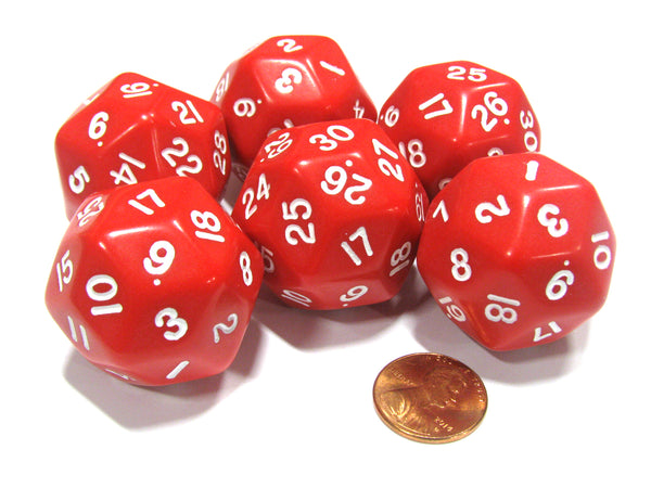 Set of 6 Triantakohedron D30 30 Sided 33mm Jumbo Dice - Red w White Numbers