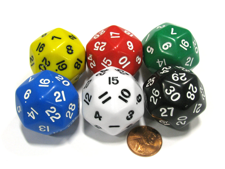 Set of 6 Triantakohedron D30 33mm Jumbo Dice - Yellow Red Green Blue White Black