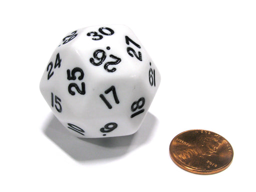Triantakohedron D30 30 Sided 33mm Jumbo RPG Gaming Dice - White w Black Number