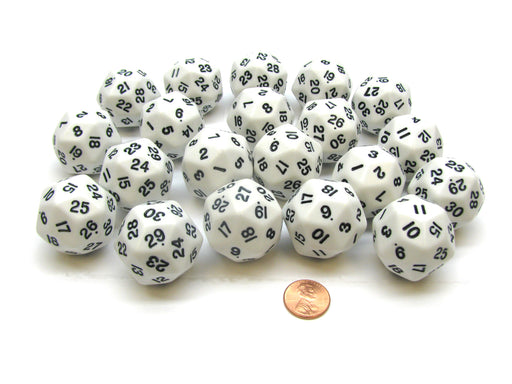 Set of 20 Triantakohedron D30 30 Sided 33mm Jumbo Dice - White w Black Numbers