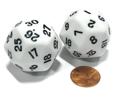 Set of 2 Triantakohedron D30 30 Sided 33mm Jumbo Dice - White w Black Numbers