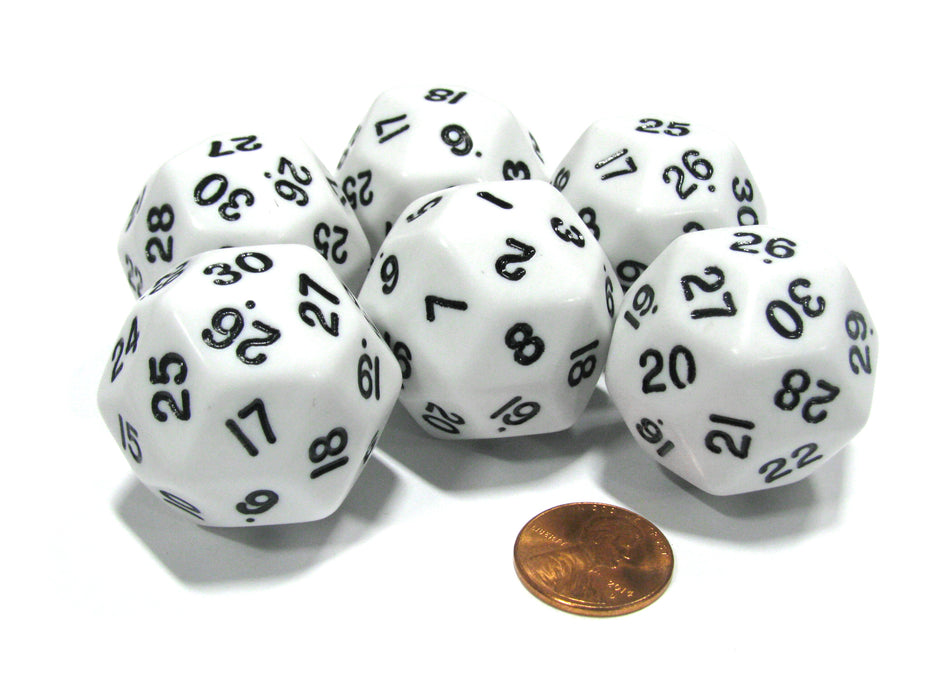 Set of 6 Triantakohedron D30 30 Sided 33mm Jumbo Dice - White w Black Numbers