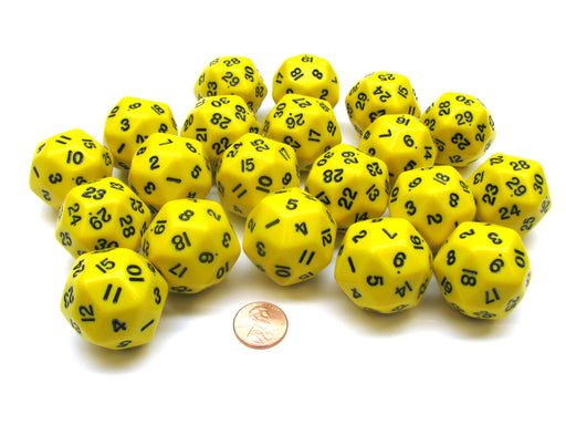 Set of 20 Triantakohedron D30 30 Sided 33mm Jumbo Dice - Yellow w Black Numbers