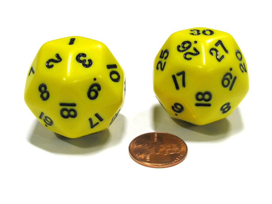 Set of 2 Triantakohedron D30 30 Sided 33mm Jumbo Dice - Yellow w Black Numbers