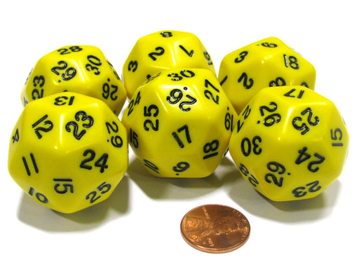 Set of 6 Triantakohedron D30 30 Sided 33mm Jumbo Dice - Yellow w Black Numbers