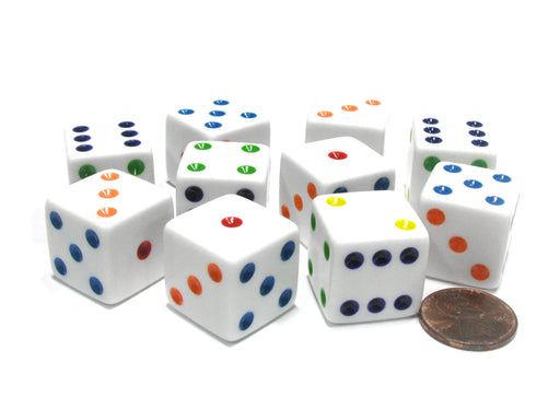 Set of 10 Large Six Sided Square Opaque 19mm D6 Dice - White with Multicolor Pip