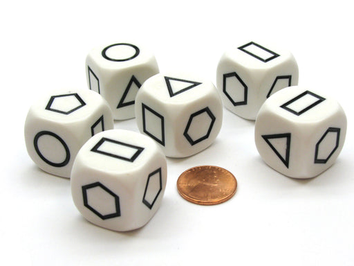 Pack of 6 22mm Opaque Shapes Attribute Dice - White with Black Shapes