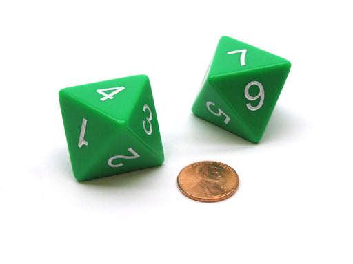 Pack of 2 D8 8 Sided Jumbo Opaque Dice - Green with White