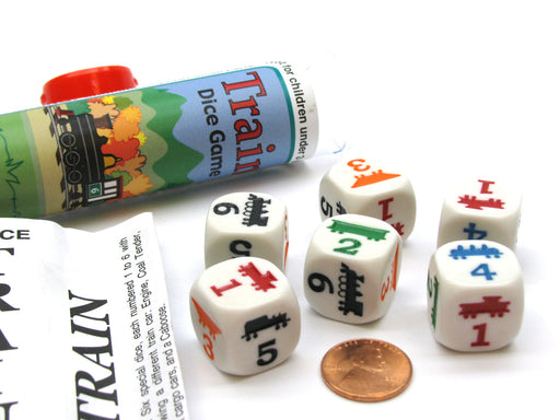 Train Dice Game 6 Dice Set with Travel Tube and Instructions