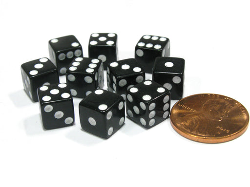 Set of 10 8mm Six-Sided D6 Small Square-Edge Dice - Black with White Pips