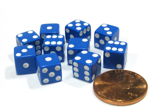 Set of 10 8mm Six-Sided D6 Small Square-Edge Dice - Blue with White Pips