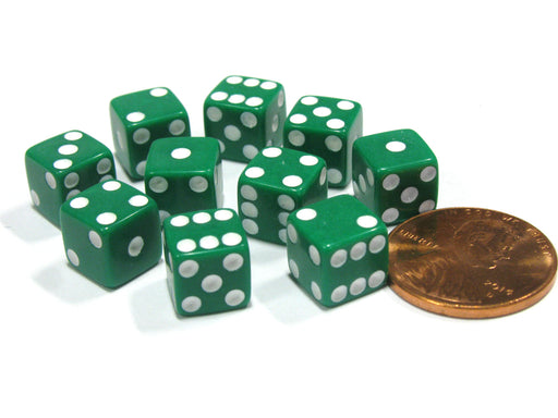 Set of 10 8mm Six-Sided D6 Small Square-Edge Dice - Green with White Pips