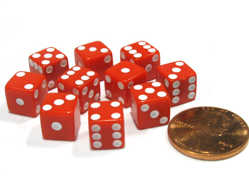 Set of 10 8mm Six-Sided D6 Small Square-Edge Dice - Red with White Pips