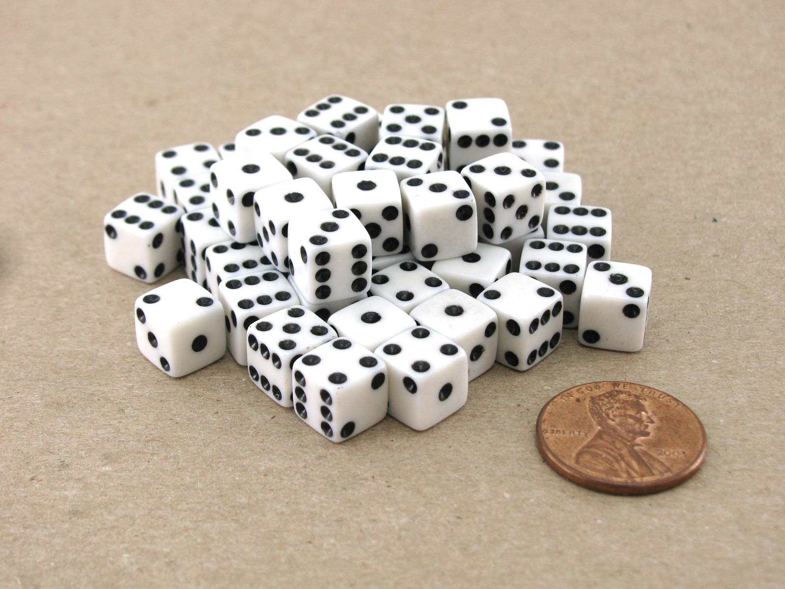 Set of 50 8mm Six-Sided D6 Small Square-Edge Dice - White with Black Pips