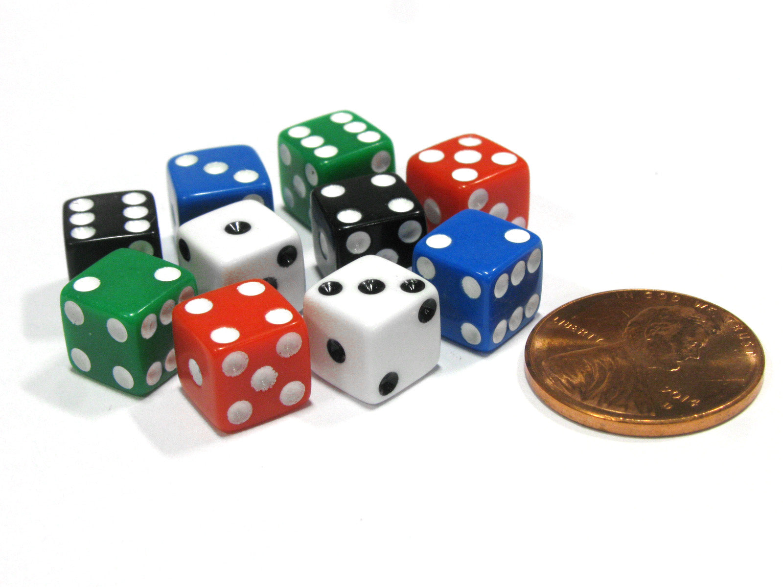 Pack of 10 8mm D6 Small Square-Edge Dice, 2 of Each: Red White Blue Green Black