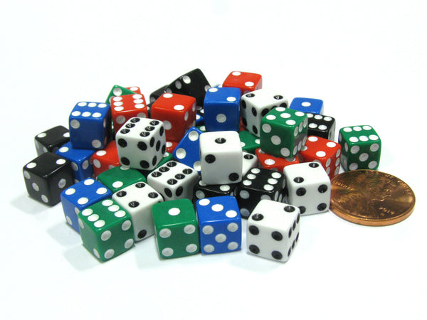Pack of 50 8mm D6 Small Square-Edge Dice, 10 of Each: Red White Blue Green Black