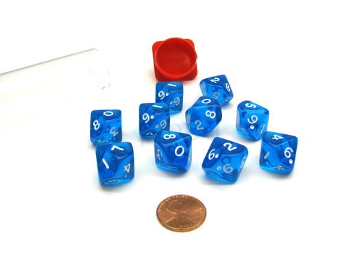 Pack of 10 Transparent 10 Sided D10 16mm Koplow Games Dice - Blue