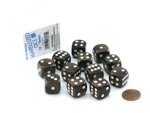 Case of 12 Deluxe Marble 16mm Round Edge Dice - Brown with White Pips