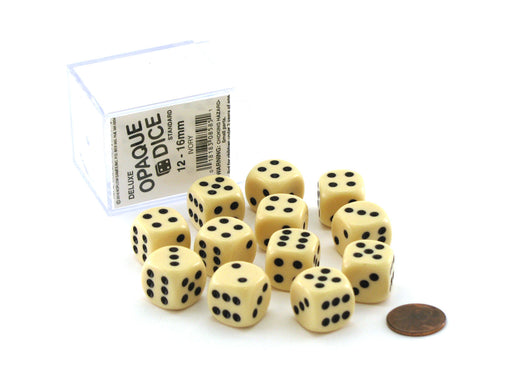 Case of 12 Deluxe Opaque 16mm Round Edge Dice - Ivory with Black Pips