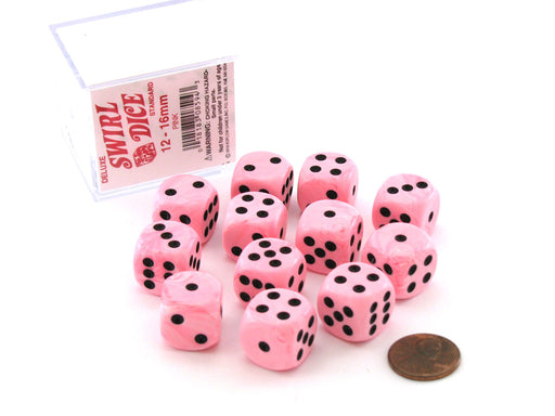Case of 12 Deluxe Swirl 16mm Round Edge Dice - Pink with Black Pips