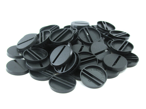 Chessex 25mm Black Plastic Round Slotted Bases #08607F for RPG Miniatures (50)
