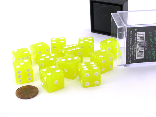 Case with 12 16mm Glow in the Dark Dice - Lemon Color with White Pips