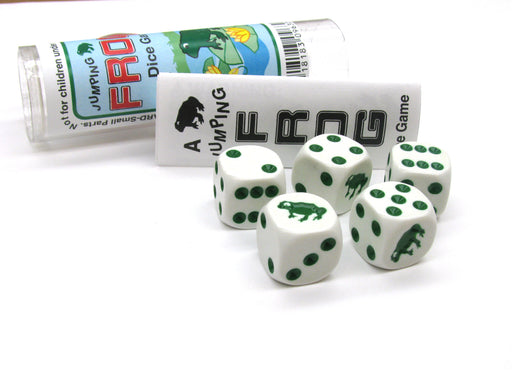 Frog Dice Game 5 Dice Set with Travel Tube and Instructions