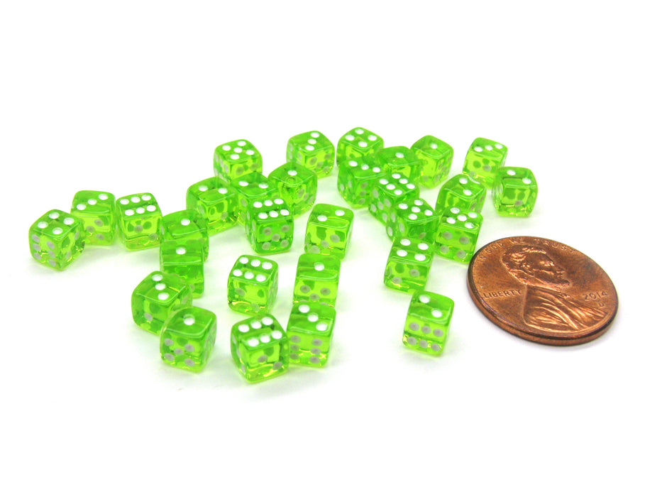 Set of 30 D6 5mm Transparent Rounded Corner Dice - Green with White Pips