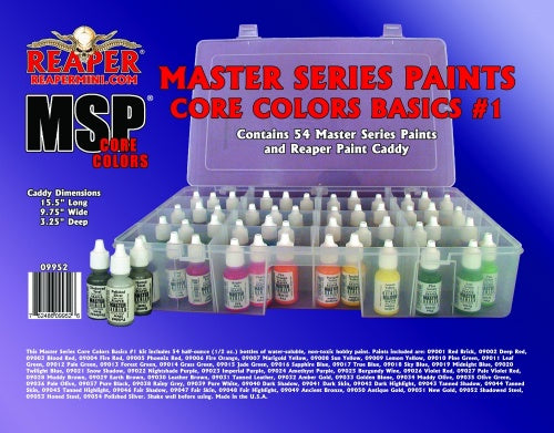 Reaper Miniatures MSP #09952 Master Series Paints Core Colors Basics #1, 54 Colors (09001-09054)