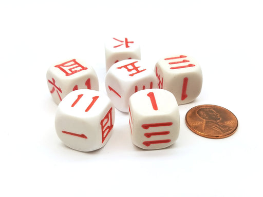 Pack of 6 16mm Chinese and Japanese Numbers Dice - White with Red