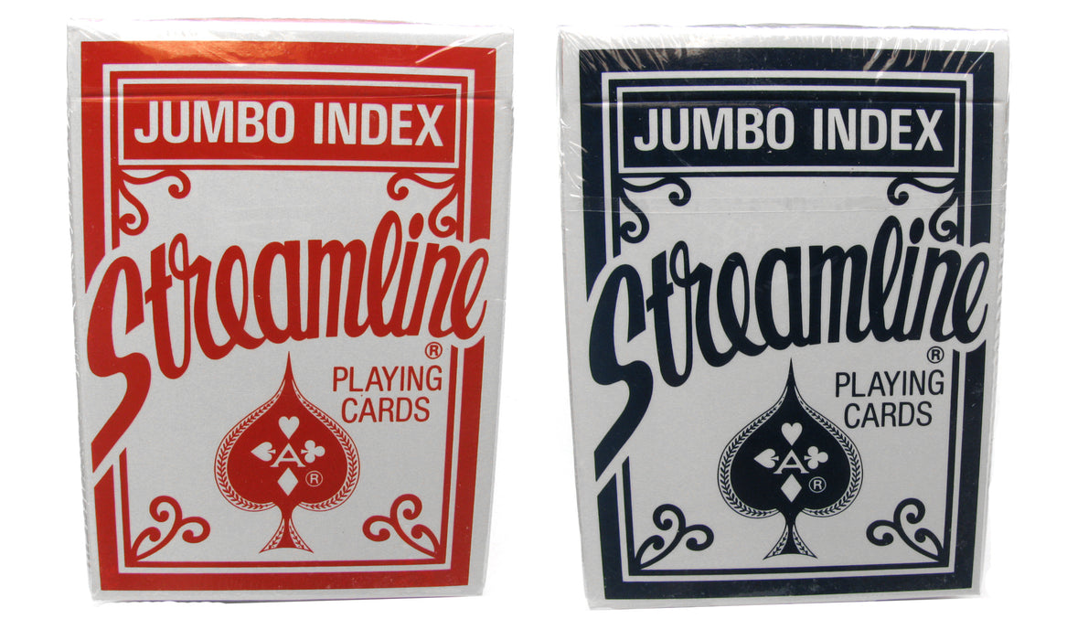 Streamline Jumbo Index Playing Cards - 1 Red Deck and 1 Blue Deck