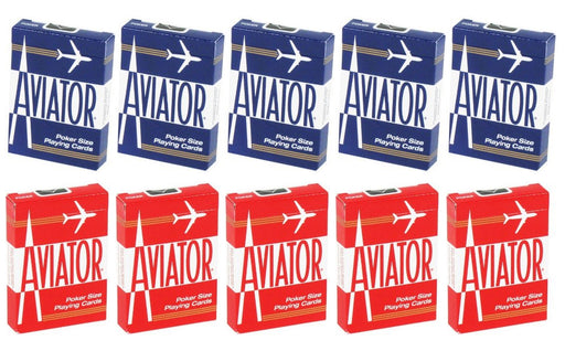 Aviator Standard Index Playing Cards - 5 Red Decks and 5 Blue Decks