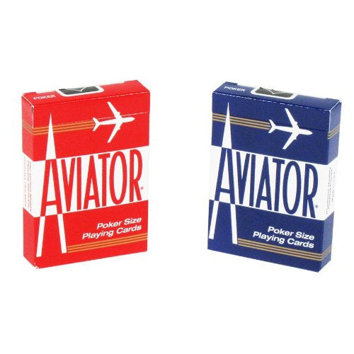 Aviator Standard Index Playing Cards - 1 Sealed Red Deck and 1 Sealed Blue Deck