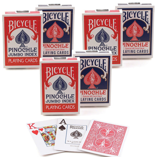 Bicycle Pinochle Jumbo Index Playing Cards - 3 Red and 3 Blue Decks