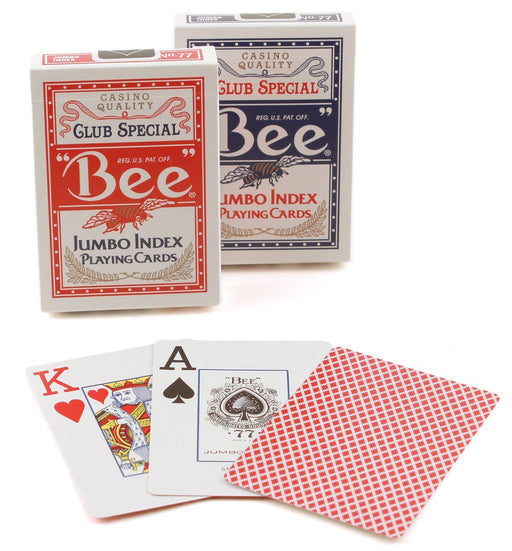 Bee Jumbo Index Poker Playing Cards - 1 Red and 1 Blue Deck