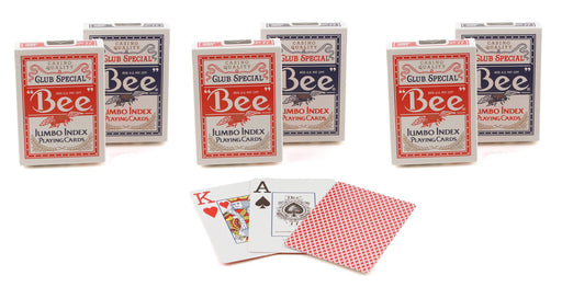 Bee Jumbo Index Poker Playing Cards - 3 Red and 3 Blue Decks