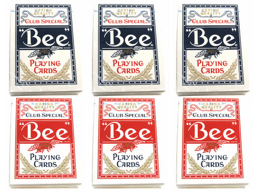 Bee No.92 Standard Index Poker Playing Cards - 3 Red and 3 Blue Decks