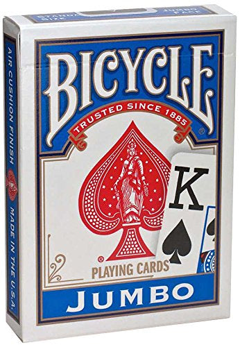 Bicycle Jumbo Index Standard Sized Poker Playing Cards - 1 Sealed Blue Deck