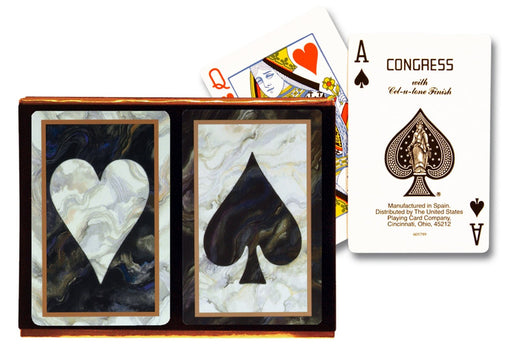 Congress Black Marble Cellutone Finish Standard 2 Pack Bridge Playing Cards
