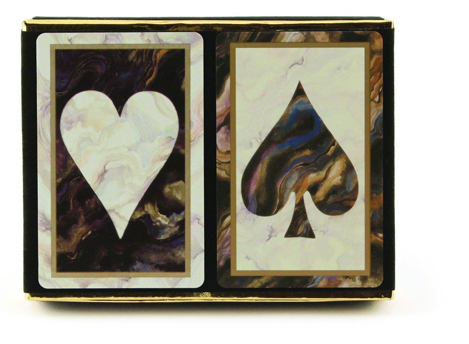 Congress Black Marble Jumbo Index Bridge Playing Cards - 2 Deck Set