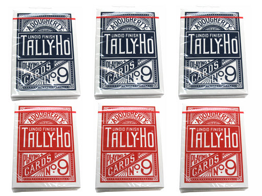 Tally-Ho Half Fan/Circle Playing Cards - 3 Red and 3 Blue Decks