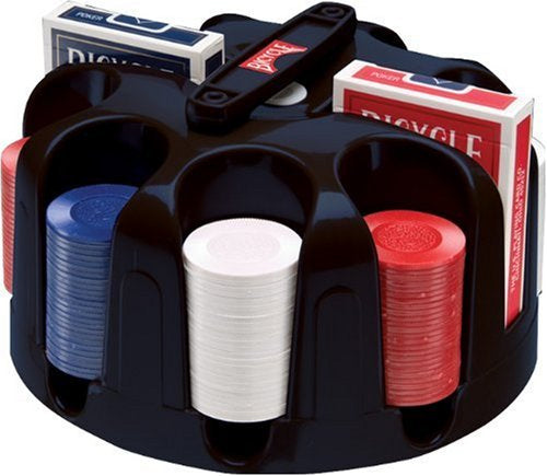 Bicycle Carousel Poker Set Rack, 200 2-Gram Poker Chips and 2 Decks of Cards