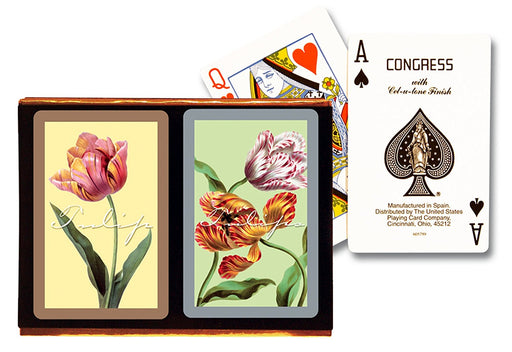 Congress Tulips Standard Index Bridge Playing Cards - 2 Deck Set