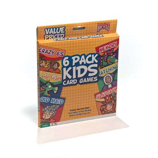 Bicycle 6 Pack Kid Card Game: Crazy 8s-Go Fish-Old Maid-Memory-Matching-Slapjack