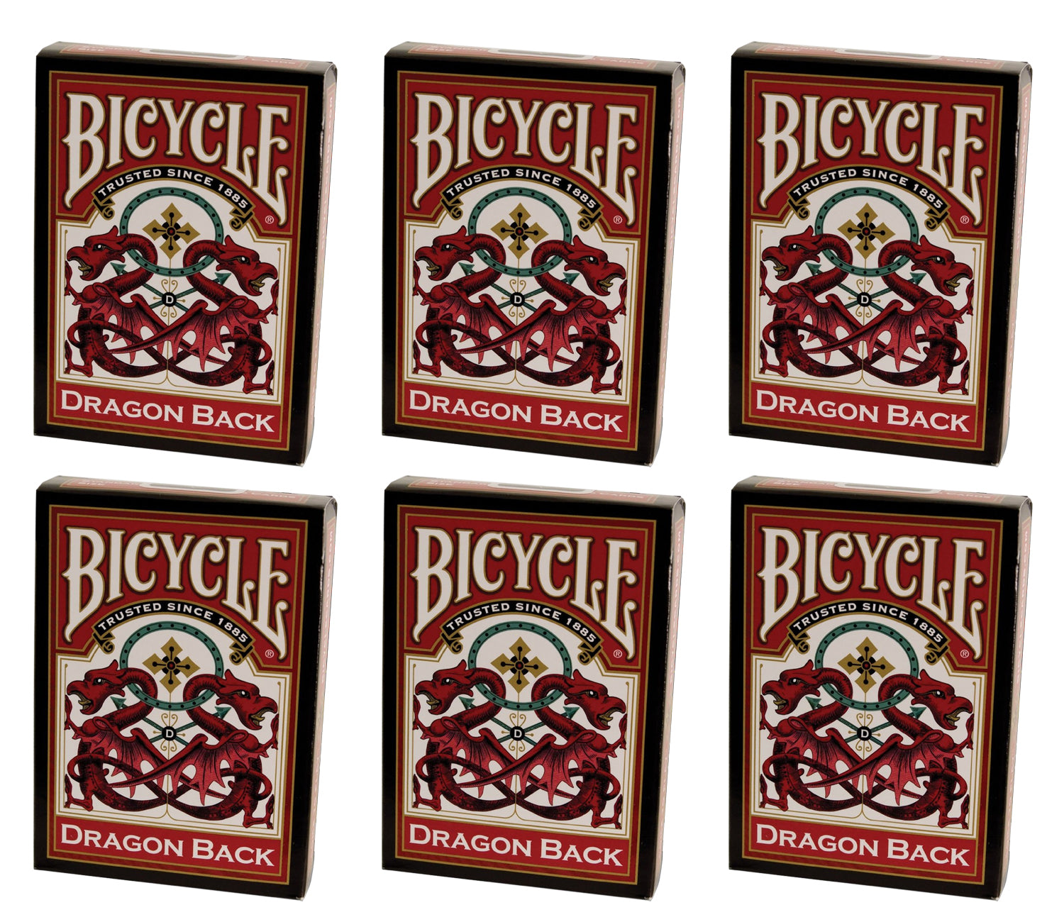 Bicycle Dragon Back Playing Cards - 6 Sealed Red Decks