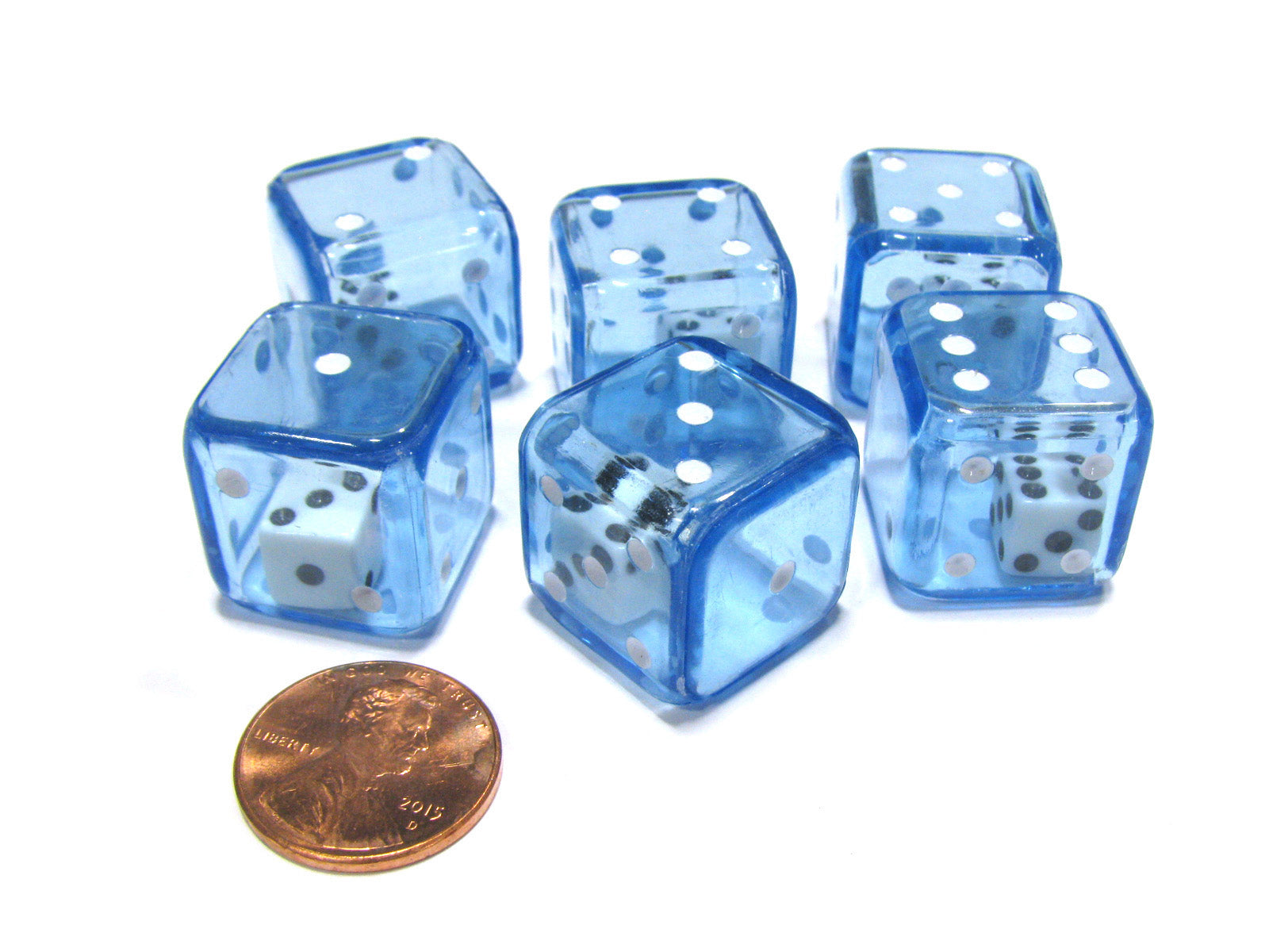 Set of 6 D6 19mm Double Dice, 2-In-1 Dice - White Inside Translucent Blue Die