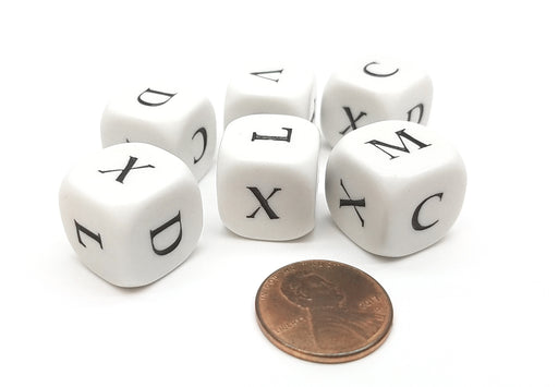 Set of 6 Roman Numerals V X L C D M (5, 10, 50, 100, 500, 1000) Dice - White