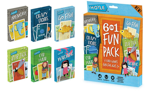Hoyle 6 Pack Kid Card Game: Crazy 8s-Go Fish-Old Maid-Memory-Matching-Slapjack